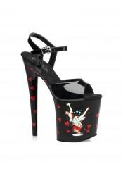 8 Inch Martini Girl Print Ankle Strap Platform Sandal