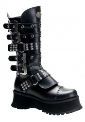Men'S 2 3/4 Heel Buckled Knee Boot With Rivet And Eyelet Studded Straps