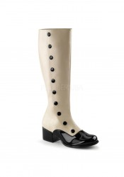 2 Inch Block Heel Two Tone Knee High Boot