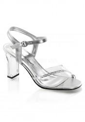 3 1/4 Inch Square Heel, Ankle Strap Sandal