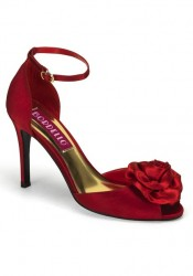 3 3/4 Inch Peep Toe Ankle Strap Sandal With Rose Ornament