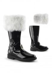 1 1/2 Inch Flat Heel Men's Knee High Gold Buckle Santa Boot