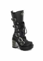 3 1/2 Inch Chromed ABS Heel, 1 1/2 Inch Moulded Pu Platform Calf Boot