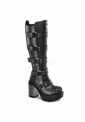 3 1/2 Inch Chromed Abs Heel, 1 1/2 Inch Moulded Pu Platform Knee Boot