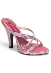 4 Inch Heel Rhinestoned Criss Cross Mini Platform Slide