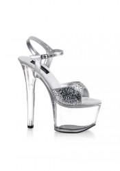 6 3/4 Inch Stiletto Heel Ankle Strap Platform Sandal