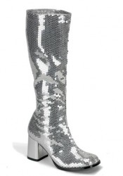 Bordello SPECTACULAR-300SQ, 3 Inch Block Heel Sequined Knee Boot