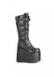 Demonia STACK-308, Men's 7 Inch Stacked Platform Knee Boot With Zig Zag Straps