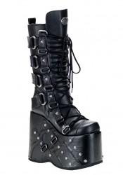 Men'S 7 Inch Platform Buckled Knee Boot With Rivet Detail