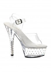 Pleaser STARDUST-608, 6 Inch Stiletto Heel Rhinestone Studded Clear Platform Sandal With Ankle Strap