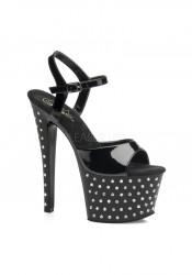 Pleaser STARDUST-709, 7 Inch Stiletto Heel Rhinestone Studded Platform Sandal With Ankle Strap