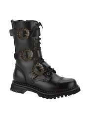 Men'S 12 Eyelet Triple Strap Steel Toe Calf Boot With Gear Buckles