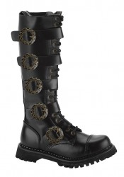 Demonia STEAM-20, Men's 20 Eyelet Buckled Steel Toe Calf Boot