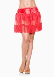 Plus Size Multi-Layer Mesh Petticoat With Fringe Hemline