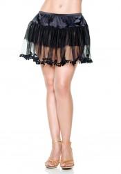 Multi-Layer Mesh Petticoat With Pompom-Trim Hemline