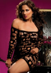 Plus Size Long Sleeve Round Net Dress