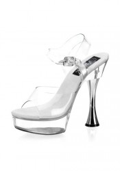 Pleaser SWEET-408, 5 1/2 Inch Cone Heel Clear Platform Sandal With Ankle Strap