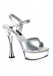Pleaser SWEET-409, 5 1/2 Inch Cone Heel Platform Sandal With Ankle Strap