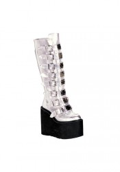 Demonia SWING-815, 5 1/2 Inch Platform Buckled Knee Boot With Metal Plate Accented Straps