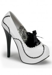 Bordello TEEZE-01, 5 3/4 Inch Heel Two Tone Pump With Ribbon Lacing