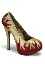 Bordello TEEZE-27, 5 3/4 Inch Concealed Platform Pump With Rhinestone Flames