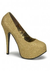 Bordello TEEZE-31G, 5 3/4 Inch Heel Glitter Pump With Detachable Shaft