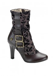 Women's 4 Inch Heel Steampunk Tweed Calf Boot With Buckle Detail