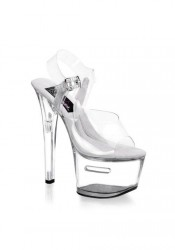 Pleaser TIPJAR 708-2, 6 3/4 Inch Clear Platform Sandal With Ankle Strap And Tip Jar Feature