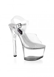 Women's 6 3/4 Inch Clear Platform Sandal With Treasure Chest Feature And Ankle Strap