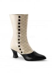 2 3/4 Inch Kitten Heel Two Tone Mid-Calf Boot