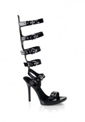 Women's 5 Inch Stiletto Heel Buckled Knee High Sandal