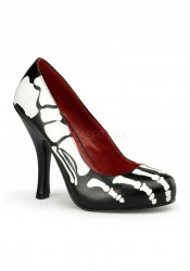 Funtasma X-RAY-12, 4 1/2 Inch Heel Pump With Skeleton Print