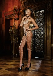 Geneva, Fence Net Bodystocking With Spaghetti Straps
