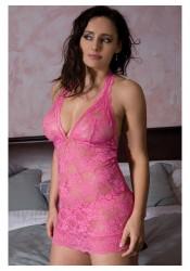 Plus Size Felicia Halter Lace Chemise
