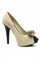 Peep Toe Platform Pump With Ruffle Detail At Toe