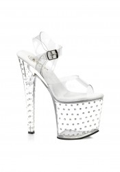 Pleaser STARDUST-758, 7 1/2 Inch Stiletto Heel Rhinestone Studded Clear Platform Sandal With Ankle Strap