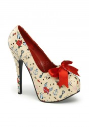 Pinup Couture TEEZE-12-3, 5 3/4 Inch Heel Pump With Satin Bow