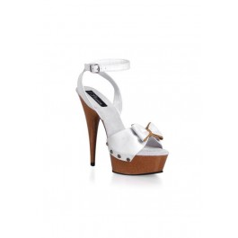 Women's 6 Inch Stiletto Heel Ankle Wrap Platform Sandal With Bow
