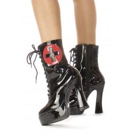 Women's 5 1/2 Inch Heel Ankle Nurse Boot With Inner Zipper