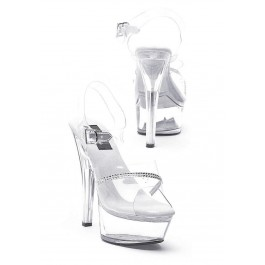 6 Inch Heel Clear Sandal Women'S Size Shoe With Rhinestone Detail And Ankle Strap