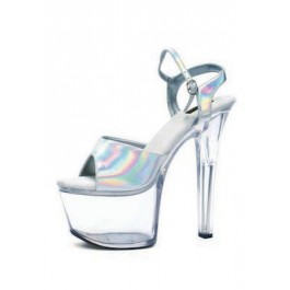 7 Inch Heel Silver Hologram Sandal Women'S Size Shoe With Ankle Strap