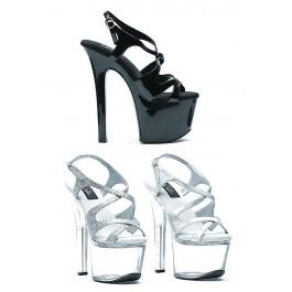 7 Inch Heel Strappy Sandal Women'S Size Shoe With Silver Glitter
