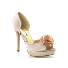 4 3/4 Inch Heel, 1 Inch Platform Peep Toe D'Orsay Pump With Floral At Toe