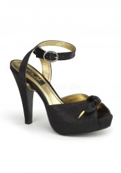 Pinup Couture BETTIE-04 4 1/2 Inch Heel Ankle Wrap Sandal With Bow