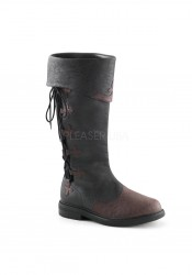 1 1/2 Inch Flat Heel Men's Knee High Two Tone Pull-On Boot