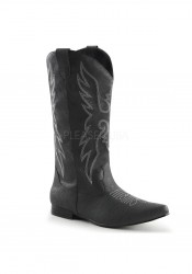 1 Inch Flat Heel, Men's Pull-On Cowboy Boot With Embroidery
