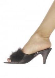 2.5 Inch Heel Satin Marabou Slippers Women'S Size Shoe
