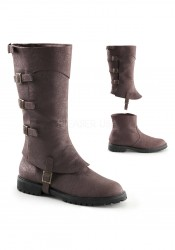 1 1/2 Inch Flat Heel Men's Buckled Strap Knee High Cuffed Boot