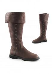 1 1/2 Inch Flat Heel Men's Cuffed Knee High Boot