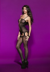 Animal Pattern Crotchless Bodystocking With Cut-Outs